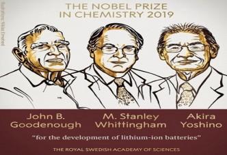 노벨화학상,`리튬이온배터리 개발` 美·英·日 과학자 선정